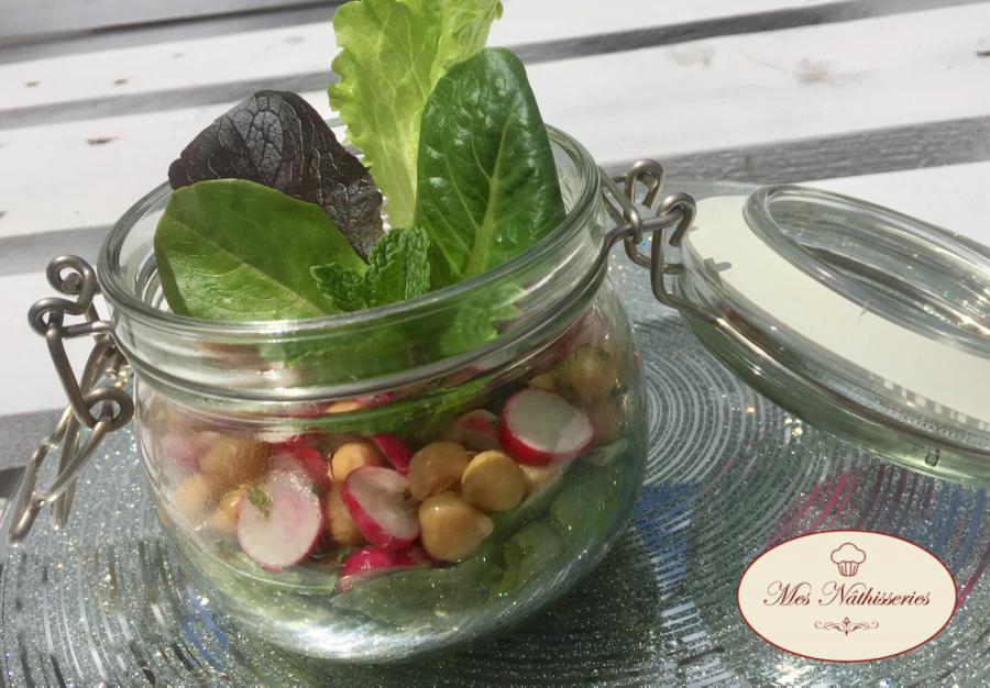 Salade en bocal pois chiches radis cumin et menthe mes n thisseries - Salade en bocal ...